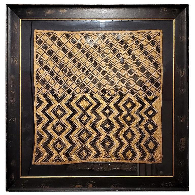Early 20th Century Congolese Large Kuba Framed Textile