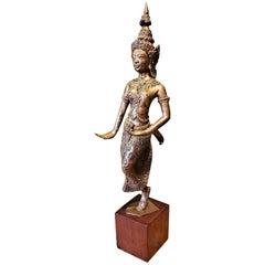 Early 20th Century Gilt Metal Thai Khon Dancer