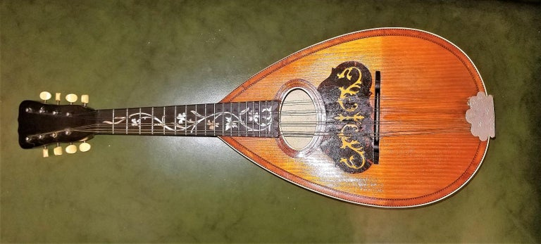 Art Nouveau Early 20th Century Italian Mandolin with Original Case For Sale