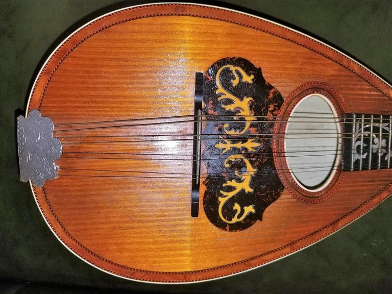Hand-Crafted Early 20th Century Italian Mandolin with Original Case For Sale
