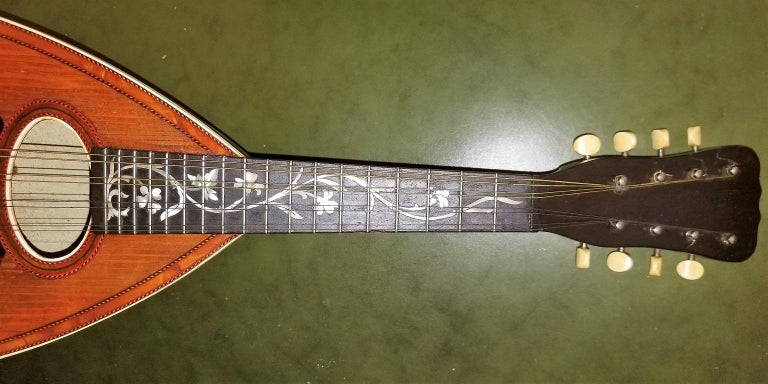 Abalone Early 20th Century Italian Mandolin with Original Case For Sale
