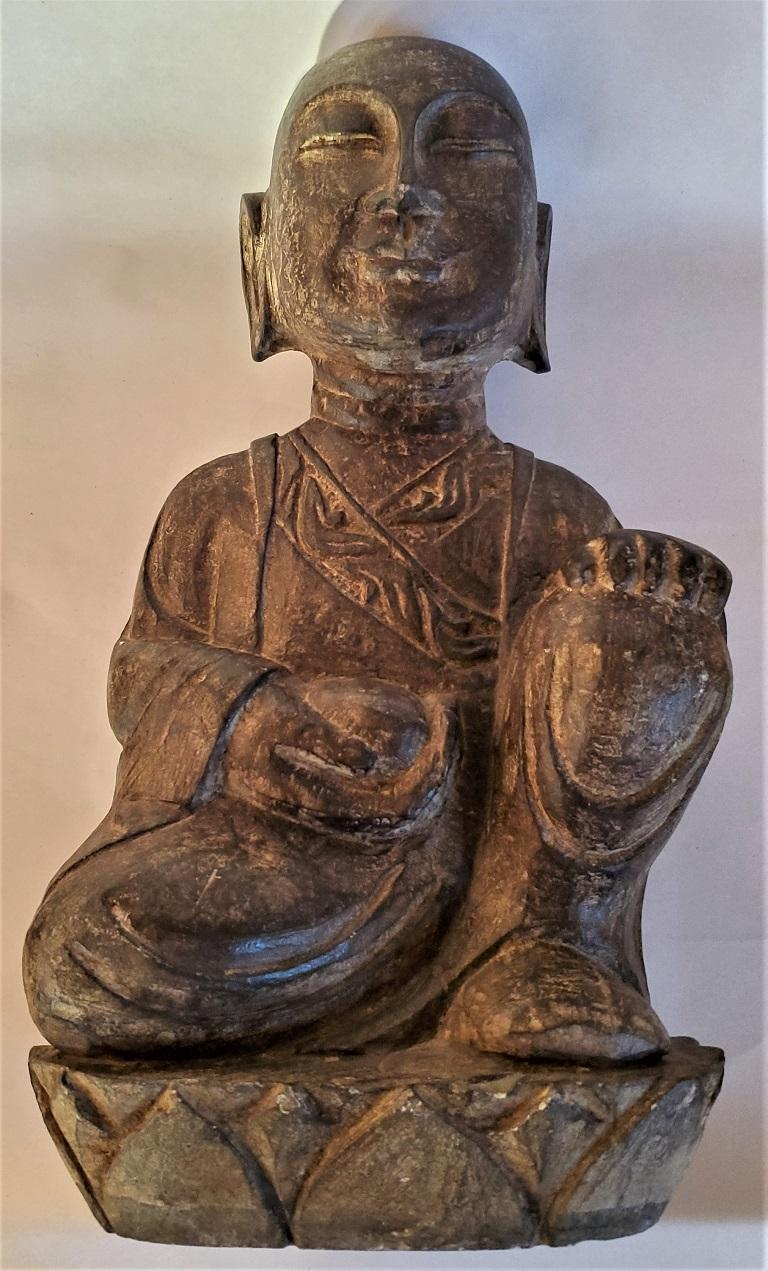 Early 20th Century Japanese Stone Carved Buddha For Sale 8