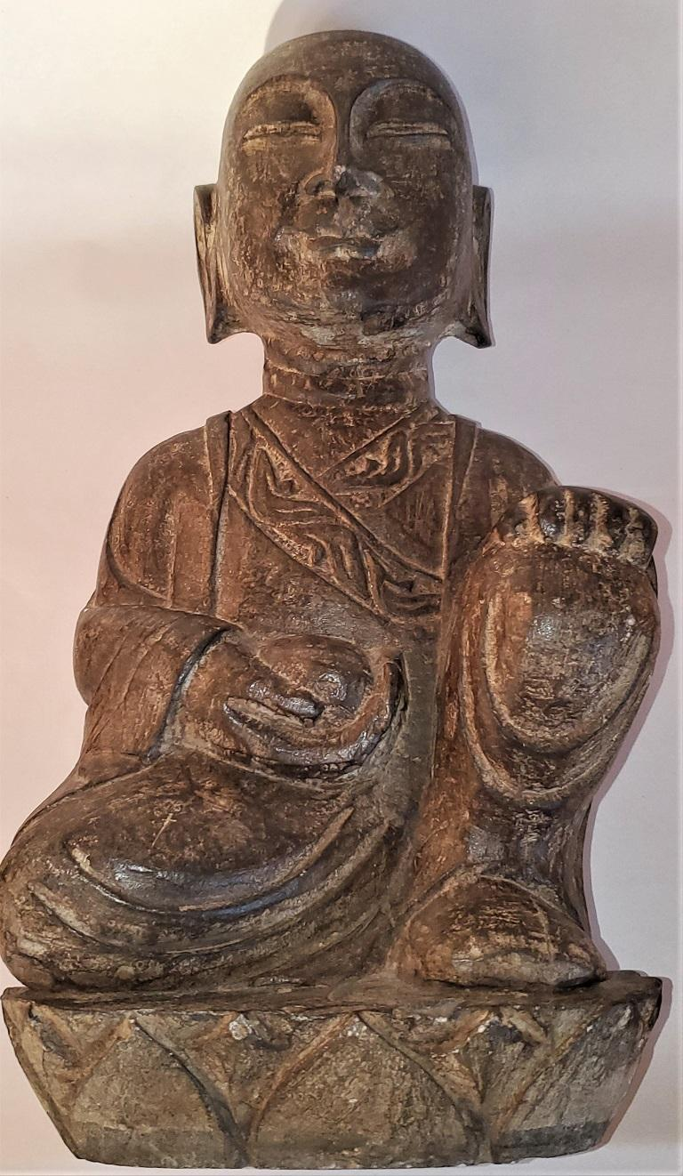 Early 20th Century Japanese Stone Carved Buddha For Sale 9