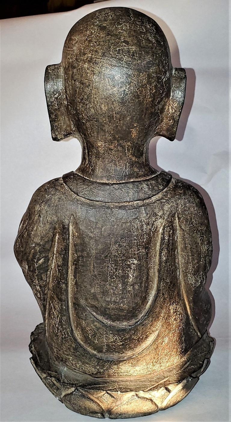 Early 20th Century Japanese Stone Carved Buddha For Sale 1