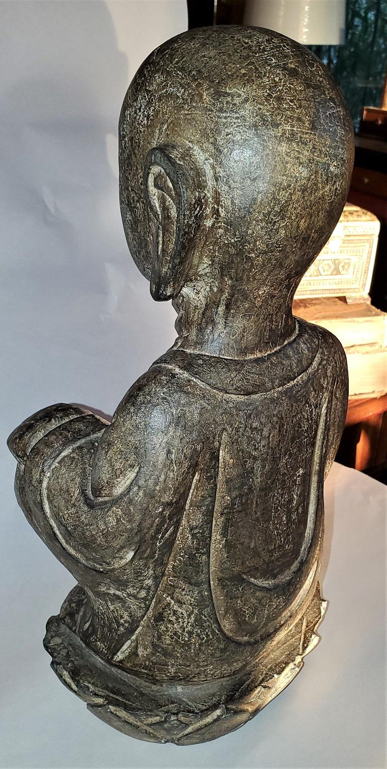 Early 20th Century Japanese Stone Carved Buddha For Sale 2