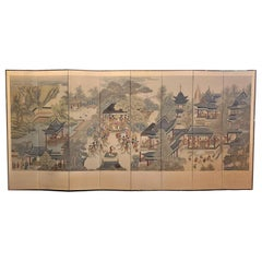 Early 20th Century Korean 8-Panel Hand Painted Screen
