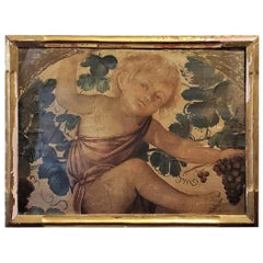 Early 20th Century Medici Print of Putti Under a Vine