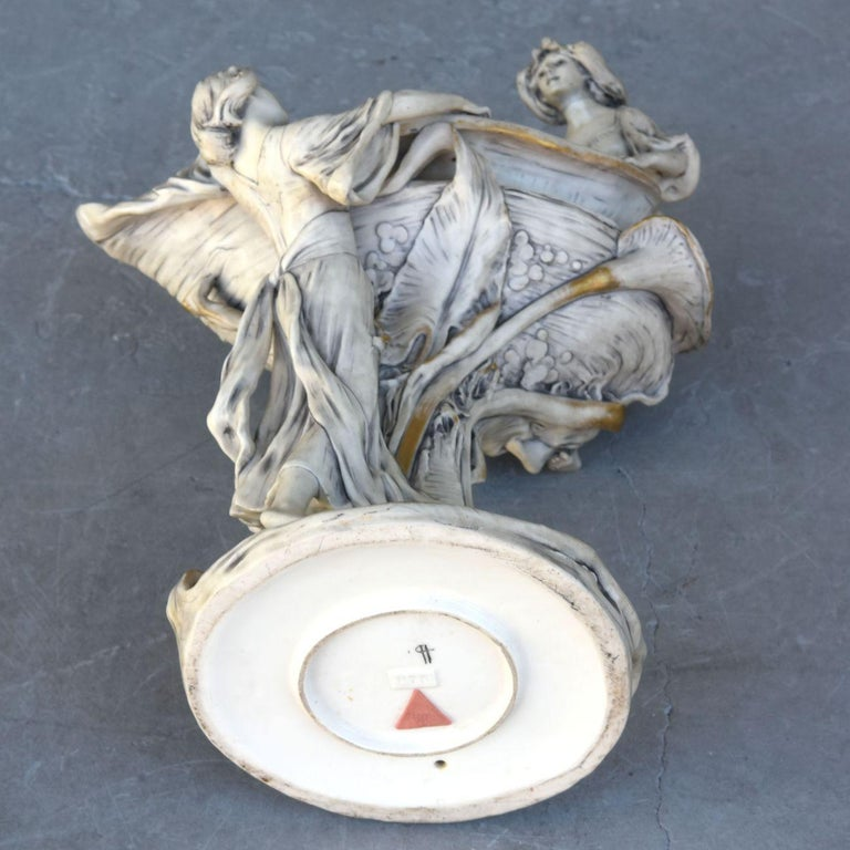Early 20th Art Nouveau Naiad Fruit Bowl in Royal Dux Porcelain For Sale 5