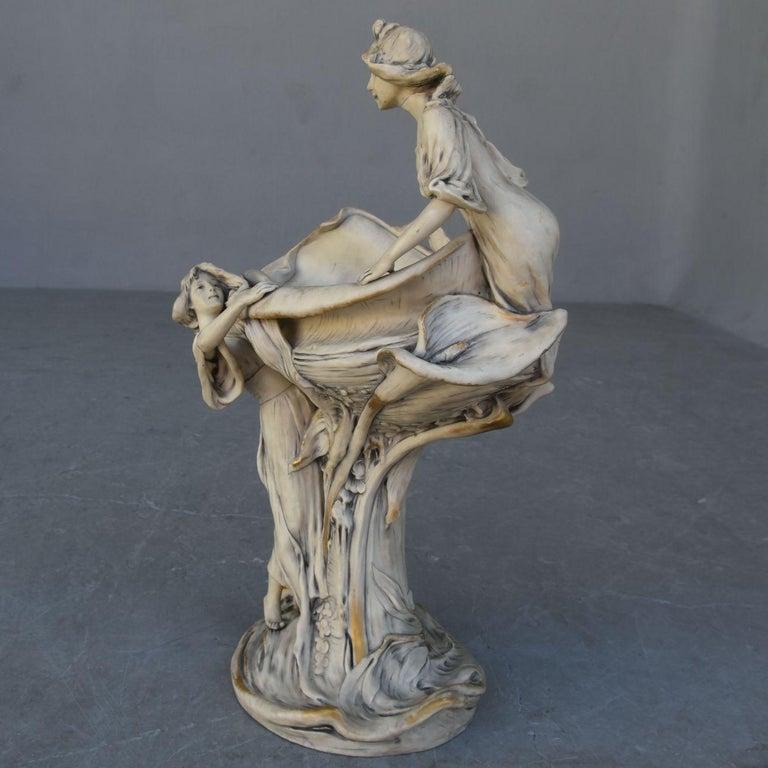 Early 20th Art Nouveau Naiad Fruit Bowl in Royal Dux Porcelain For Sale 1