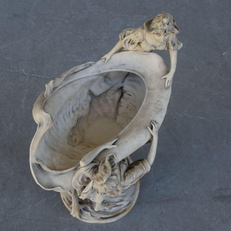 Early 20th Art Nouveau Naiad Fruit Bowl in Royal Dux Porcelain For Sale 3