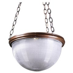 American Holophane Plaffonier Pendant Light Bronze Prismatic Glass