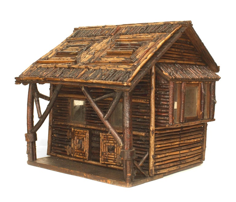 Early 20th c  American Rustic Miniature Log Cabin