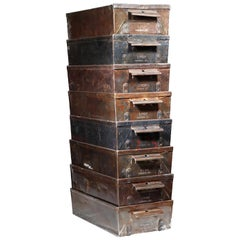 Early 20th Century Antique Steel Drawers circa 1930-1940 Set of Four