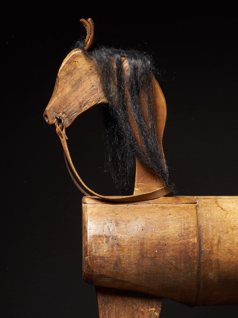 British Early 20th Century, Antique Wooden Rocking Horse For Sale