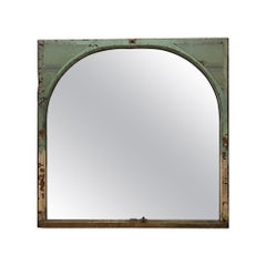Early 20th C. Arched Wood Window Mirror with Copper Details