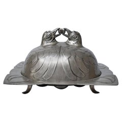 Art Nouveau Covered Pewter Osiris 909 Isis Egg and Chicken Dish