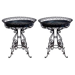 Early 20th-C Black Scrolled Metal Jardinieres Planters or Plant Stand, Pair