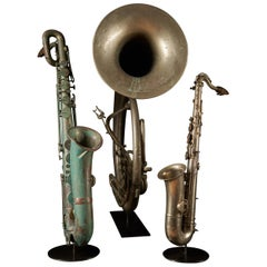 Early 20th Century Bombardon and Two Saxophones by F. Cauwelaert