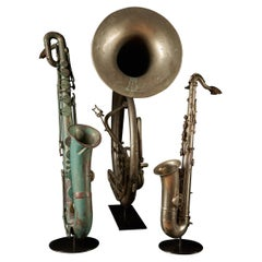 Early 20th C. Bombardon and Two Saxophones by F. Cauwelaert