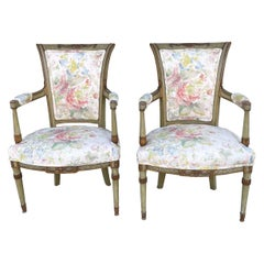 Early 20th C Carved and Painted French Directoire Style Chairs in Linen, Pair
