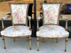 Early 20th C. Carved And Painted French Directoire Style Chairs In Linen - Pair
