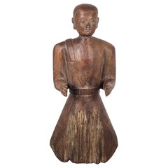 Early 20th Century Carved Wooden Cambodian Monk