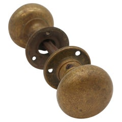 Early 20th C Classic Cast Brass Round Door Knobs with Rosettes