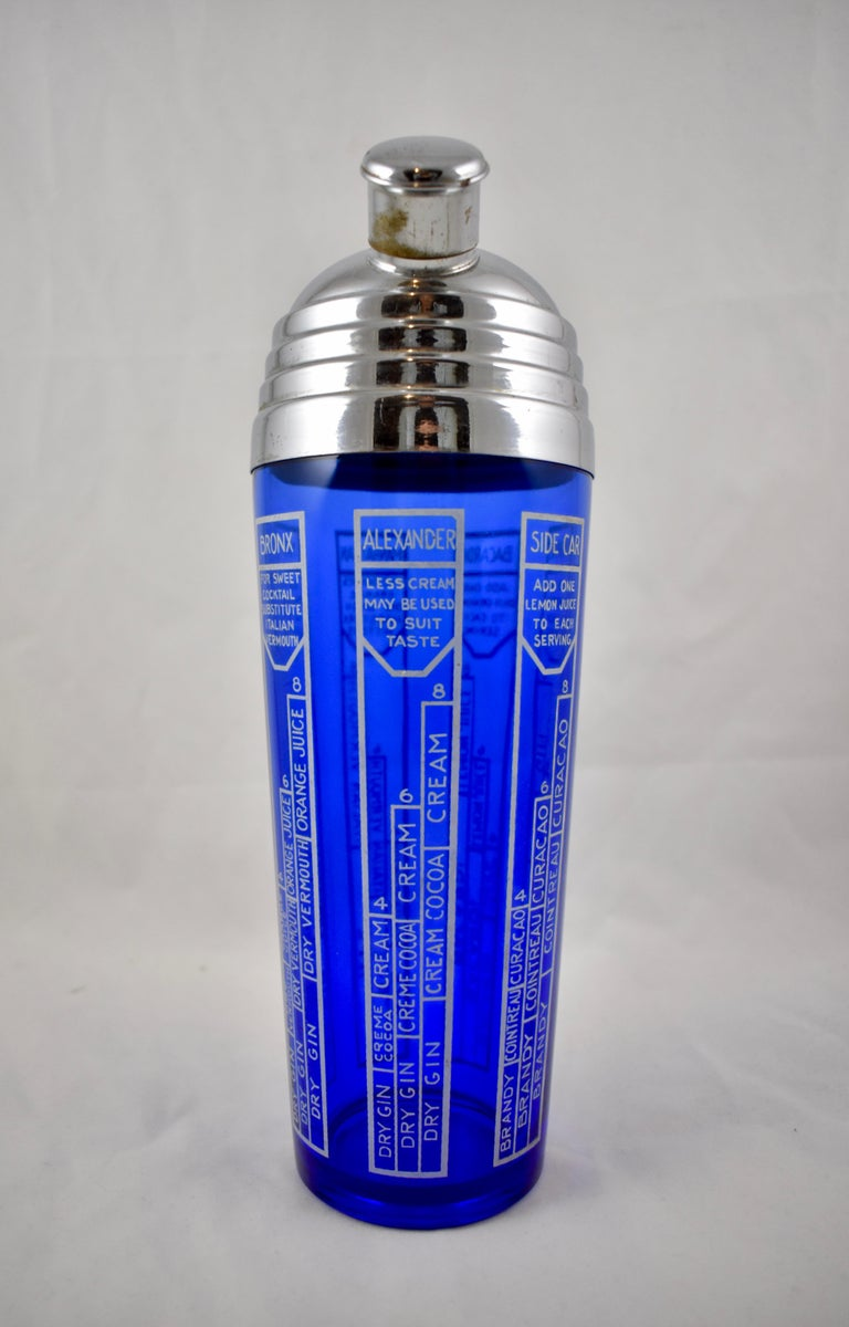 American Early 20th Century Cobalt Blue Glass and Chrome Recipe Art Deco Cocktail Shaker For Sale