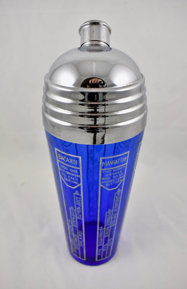 Early 20th Century Cobalt Blue Glass and Chrome Recipe Art Deco Cocktail Shaker In Good Condition For Sale In Philadelphia, PA