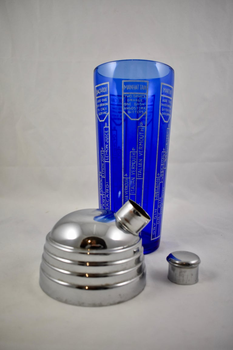 Early 20th Century Cobalt Blue Glass and Chrome Recipe Art Deco Cocktail Shaker For Sale 3