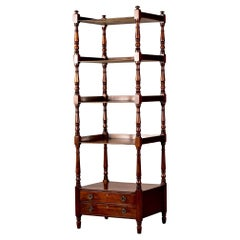 Early 20th C English Mahogany Four Tier Etagere or What Not Shelf