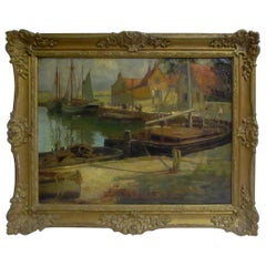 Early 20th c English School Oil Painting Dock & Fishing Boats by Frederick Stead