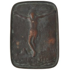 Early 20th C. Example of Japanese Fumi-E Bronze Plaque