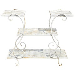 French Art Nouveau Scrolling Wrought Iron 3-Tier Garden Plant Stand