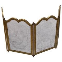 Early 20th C. French Brass Finish Fireplace Screen Fine Mesh, 4 Hinged Sections