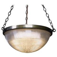 Early 20th Century Holophane Plaffonier Pendant Light Brass Prismatic Glass
