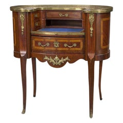 Early 20th C. French Louis XV Carved Mahogany and Marble-Top Lady Table Desk