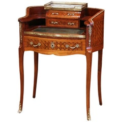 Early 20th C French Louis XV Carved Marquetry Walnut and Marble Lady Table Desk