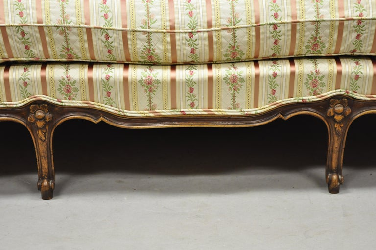 French Louis XV Provincial Style Sofa with Serpentine Carved Back For Sale 5
