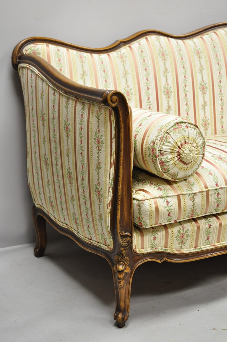 Fabric French Louis XV Provincial Style Sofa with Serpentine Carved Back For Sale