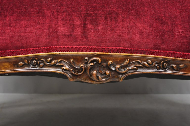 Early 20th Century French Louis XV Style Shell Carved Mahogany Sofa Settee For Sale 4
