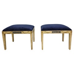 Early 20th-C. French Neo-Classical Style Painted Ottomans, Pair