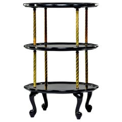 Early 20th Century French Three-Tier Ebonized Side Table with Brass Supports