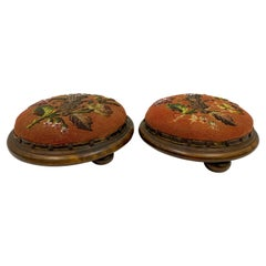 Early 20th C. French Victorian Style Burl and Beaded Ottomans, a Pair