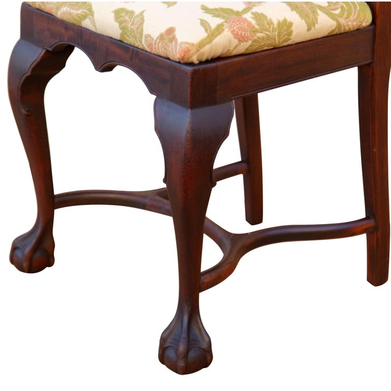 Fabric Early 20th C George II Style Carved Walnut Chair by Brower For Sale