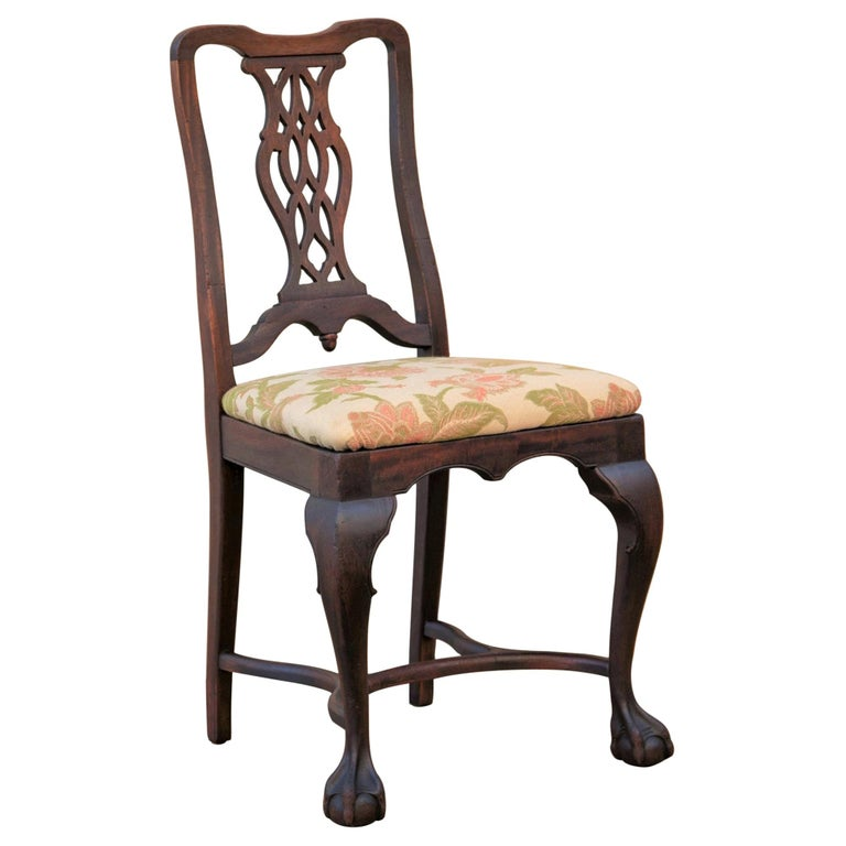 Early 20th C George II Style Carved Walnut Chair by Brower For Sale