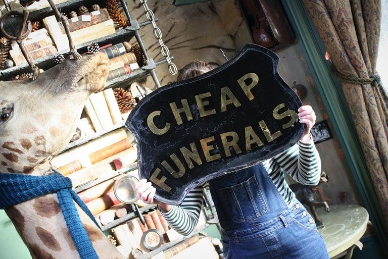 Gilt Verre Églomisé, Cheap Funerals Trade Shop Sign Oliver Twist For Sale 14