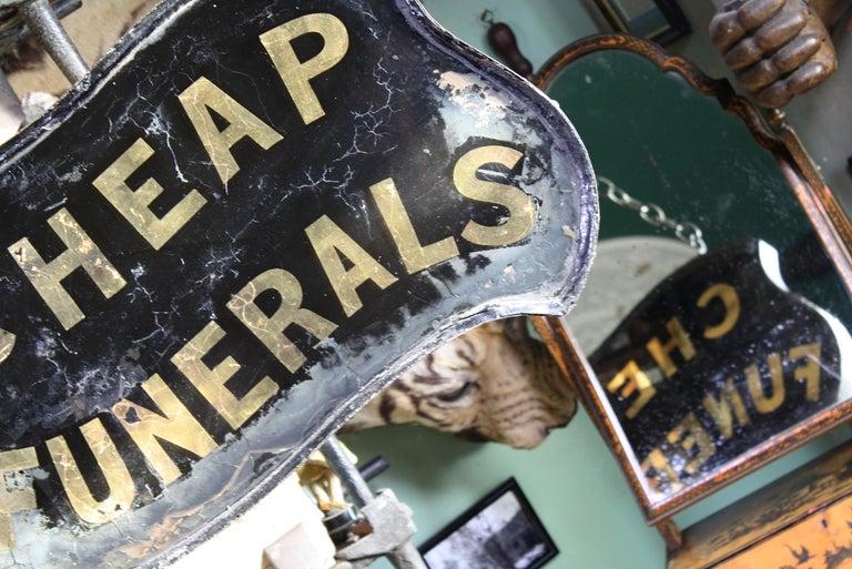 English Gilt Verre Églomisé, Cheap Funerals Trade Shop Sign Oliver Twist For Sale