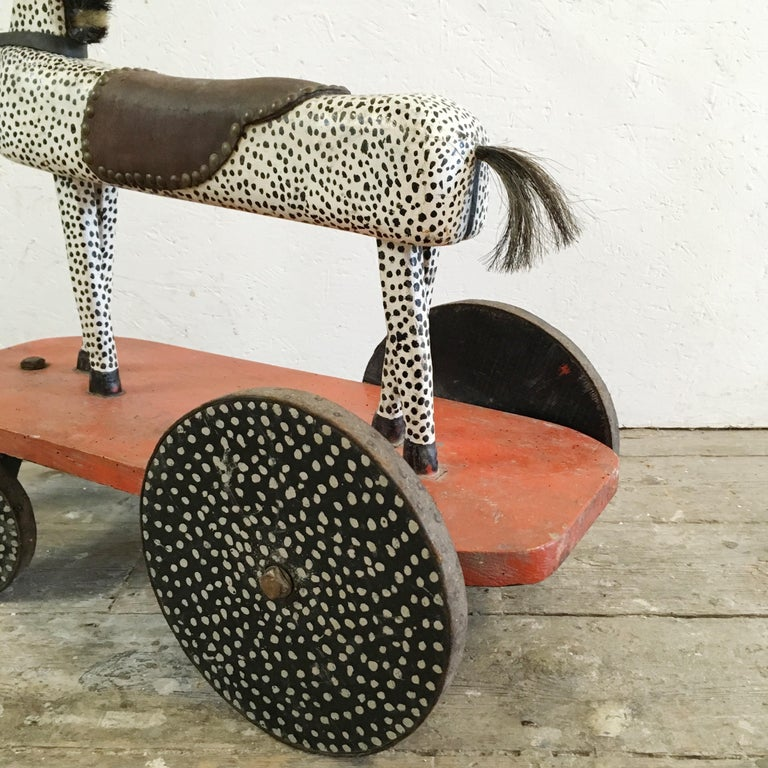 Early 20th Century Handcrafted French Wooden Horse Toy For Sale 6