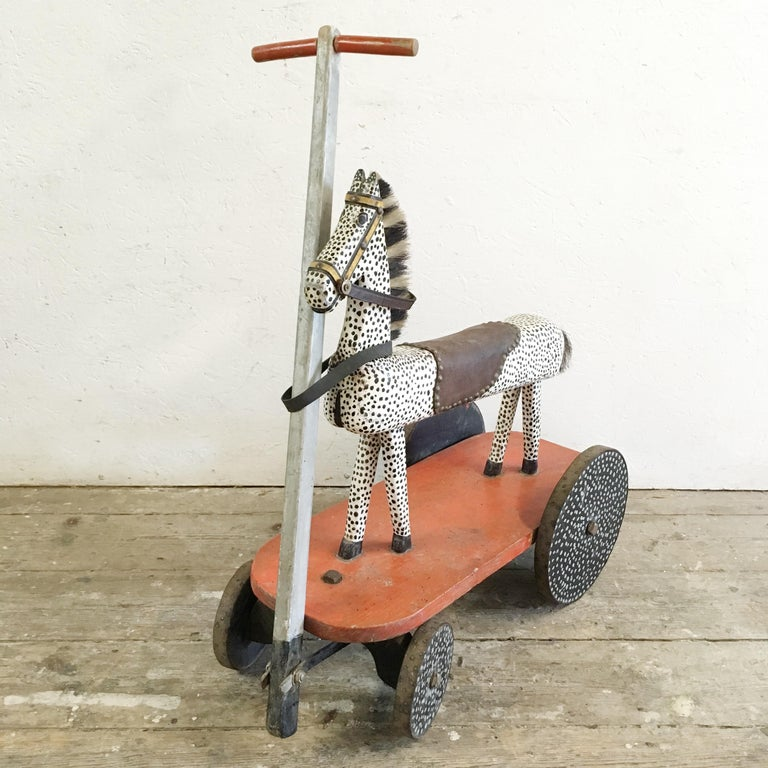 Early 20th Century Handcrafted French Wooden Horse Toy For Sale 7